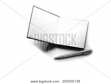 Notebook Paper With Pencil In  Black And White Style