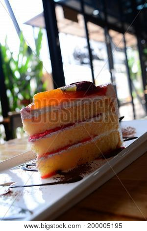 A Piece Of Mixed Fruit Cake At Coffee Shop