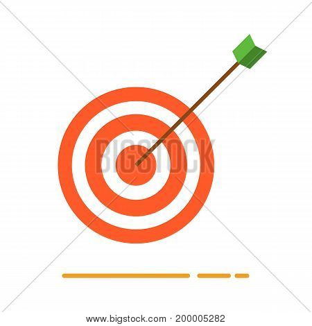 Archery target with arrow icon. Creative business concept vector illustration in flat design.