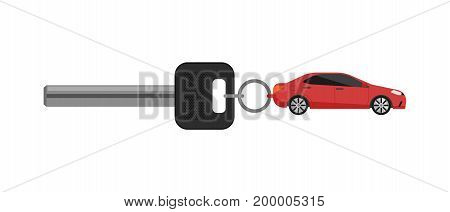 Rent car business concept with car key isolated on white background vector illustration. City renting car service in flat design.