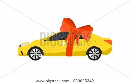 Yellow car with red bow icon isolated on white background vector illustration. Modern automobile, people transportation, auto vehicle in flat design.