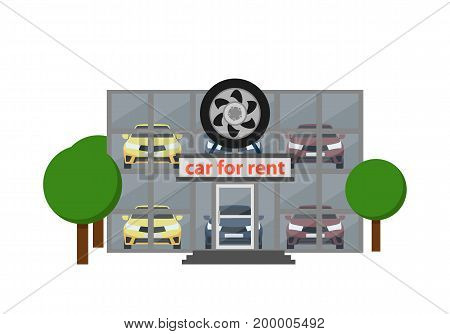Rental business icon with car showroom isolated on white background vector illustration. Car for rent symbol, renting car service in flat design.