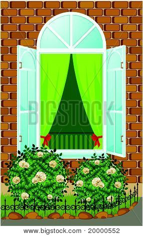 Facade of house with open window and flowerbed