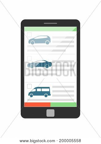 Online rent car business concept with tablet PC isolated on white background vector illustration. City renting car service in flat design.