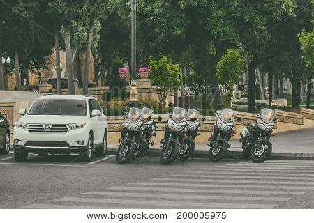 Baku, Azerbaijan, May 29, 2017. Motorcycle parking on the street