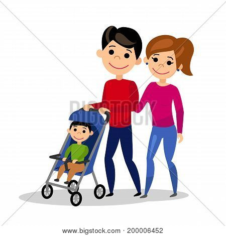Happy family. Dad wheels the baby in the pram. Father, mother and son. Isolated people on white background. Flat style. Vector illustration.