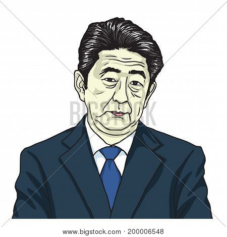 Shinzo Abe the Prime Minister of Japan. Cartoon Caricature Vector Illustration Portrait. August 17, 2017
