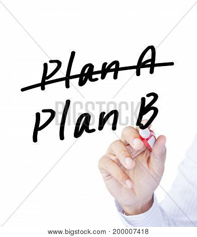 Business plan strategy changing hand crossing over Plan A, writing Plan B