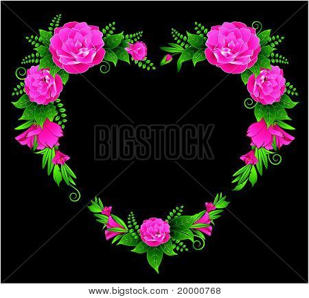 Flowers against a dark background with a place for the text