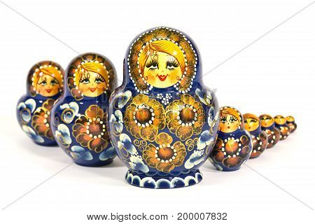 matryoshka Russian dolls on white background, toy, souvenir, gift