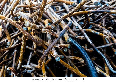 rusty metal bars from demolition materia texture background