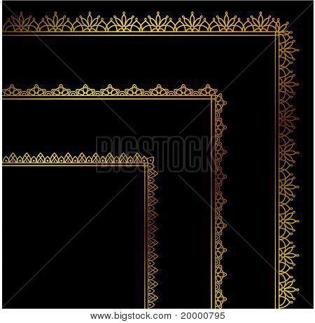 A beautiful background with lace ribbons on a black background