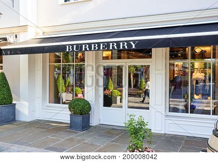 PARIS FRANCE - MAY 10 2017 : Burberry boutique in La Vallee Village. Burberry Group plc is a British luxury fashion house headquartered in London England.
