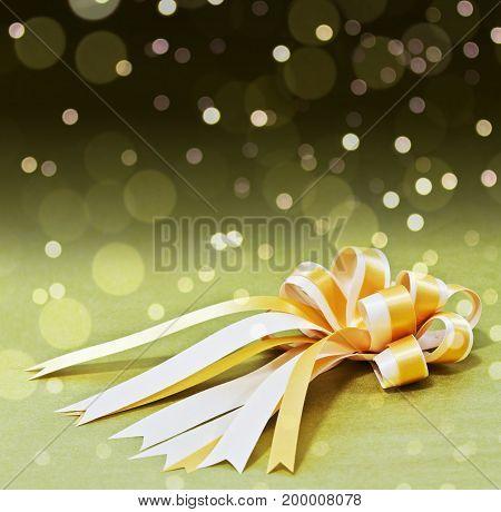 golden gift ribbon, bow, festive, birthday, new year