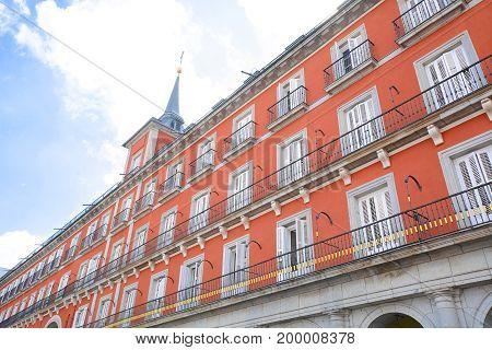 Plaza Mayor Buildings In Madrid, Spain.
