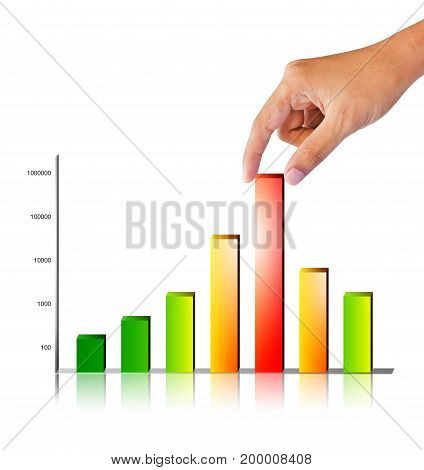 rising colorful business graph on white background