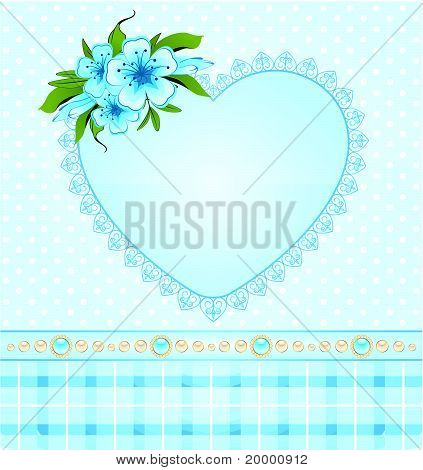 Beautiful heart with lace ornaments and flowers