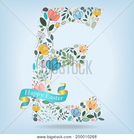 Floral Letter E. Watercolor graceful flowers plants and blurs. Blue ribbon with golden back and white text Happy Easter. Vector Illustration