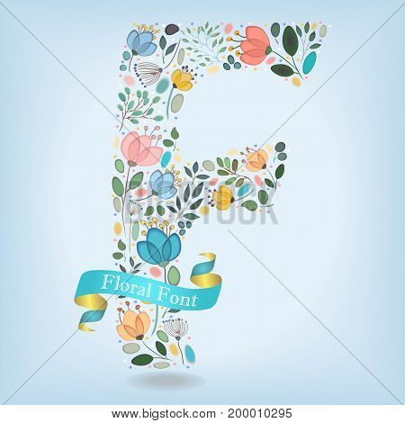 Floral Letter F. Watercolor graceful flowers plants and blurs. Blue ribbon with golden back and white text. Vector Illustration