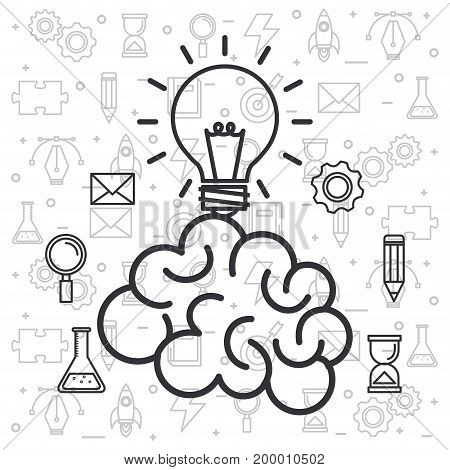 brain idea creativity invention innovation vector illustration
