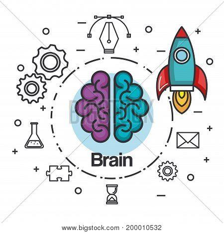 brain rocket think idea power concept vector illustration