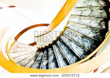 step marble Modern Design Spiral Staircase architecture