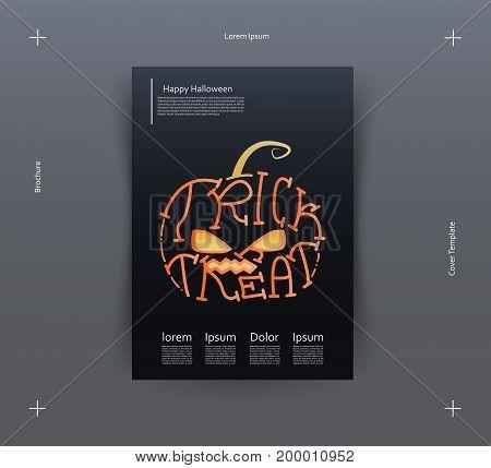 Halloween typography. Trick or Treat. Halloween Lettering, orange pumpkin. Vector.