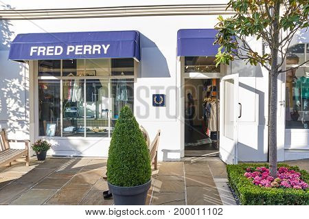 PARIS FRANCE - MAY 10 2017 : Fred Perry boutique in La Vallee Village. Fred Perry was a British tennis and table tennis also it is a clothing brand