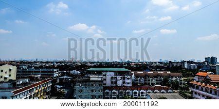 Panorama view in bangkok city at noon