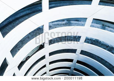 Circular ramp in parking garage Spiral shaped entrance to the parking