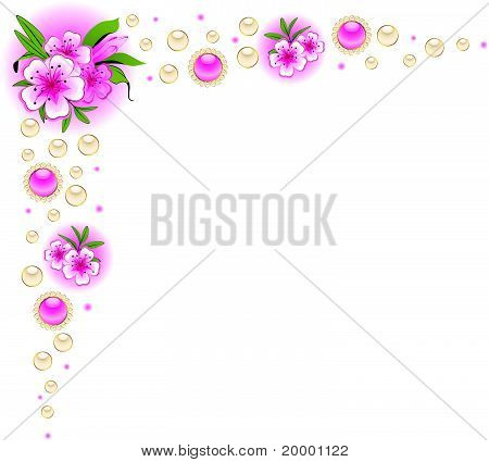 White background with flowers and a place for text