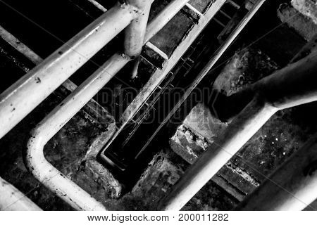 black and white old Spiral Staircase horror halloween concept