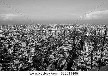 bird eye view megapolis Bangkok city view from above Thailand