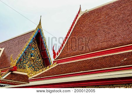 gable apex on the roof of buddhist temple in bangkok thailand style of thai temple