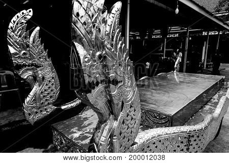 thai dragon or naka Cart for send a body to cremation ceremony monochrome