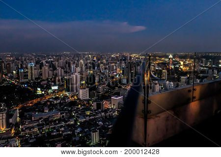blur view from high building megapolis Bangkok city view from above Thailand