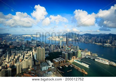 Hong Kong city aerial view with urban skyscrapers View from Sky100 Hong Kong