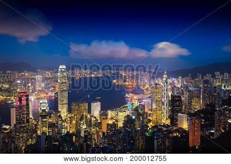 Hong Kong skyline at dusk View from The peak Hong Kong