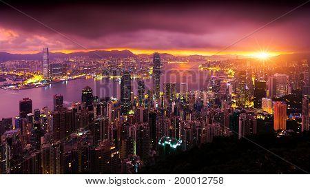 Hong Kong Sunrise View from The peak Hong Kong