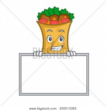 Grinning kebab wrap character cartoon with board vector art
