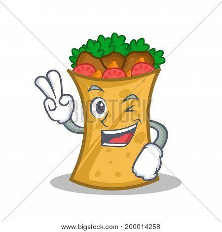 Two finger kebab wrap character cartoon vector illustration