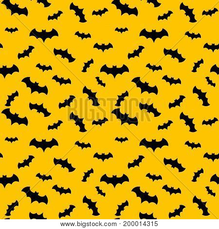 Seamless pattern yellow background with black endless bat on halloween festive Vector illustration