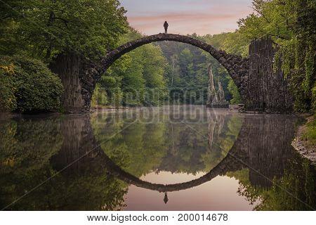 Bridge in rhododendron park in Kromlau Germany