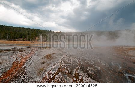 Hot Cascades Hot Spring In The Lower Geyser Basin In Yellowstone National Park In Wyoming Usa