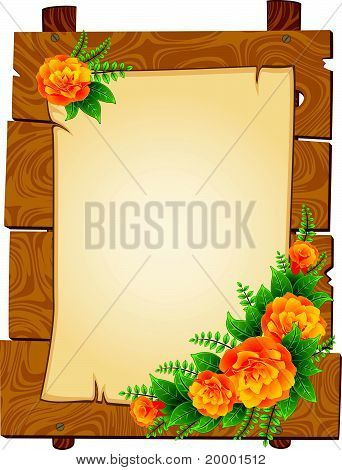 A sheet of paper with a place for text on the wooden background with flowers