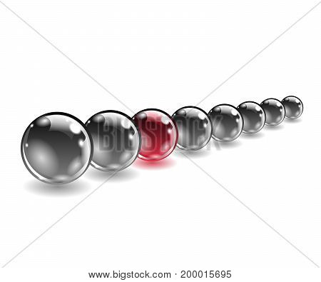 One red unique sphere came forward from a row of black spheres. Vector illustration.