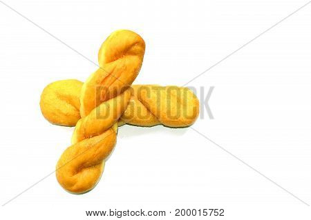 Twist Bread Isolate ,brown Bread On White Background