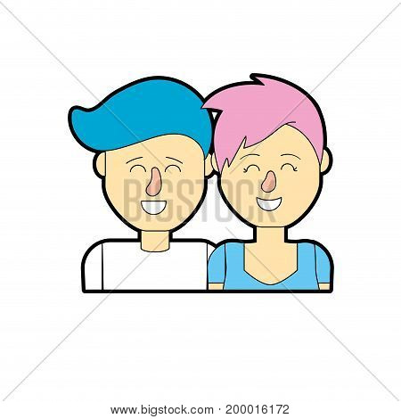 nice couple with hairstyle design vector illustration