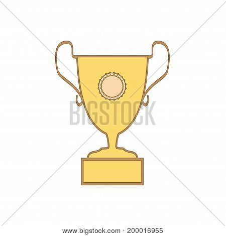 Cup reward isolated. Modern symbol of victory and award achievement sport. Insignia ceremony awarding of winner tournament. Colorful template for badge tag. Design element. Vector illustration
