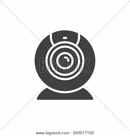 Webcam icon vector, filled flat sign, solid pictogram isolated on white. Video conference camera symbol, logo illustration. Pixel perfect